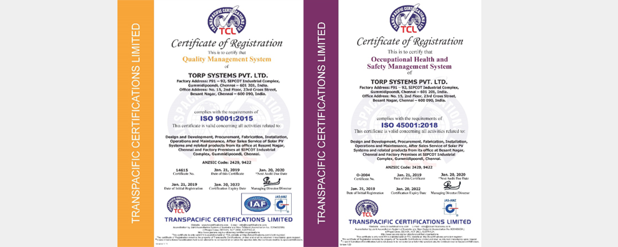 ISO Certification Provides Customer Comfort on Quality & EHS.